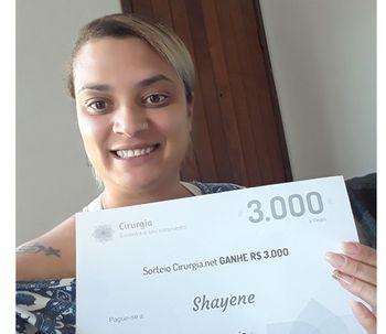 Ganhadora do sorteio de julho: Shayene